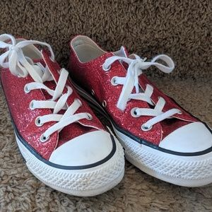 Converse Red sparkly women size 6 Sneakers lowtop